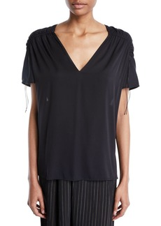 Vince Shirred Short-Sleeve V-Neck Top