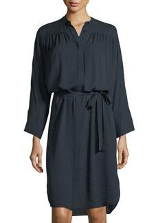 Vince Shirred Silk Belted Shirtdress