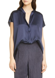 Vince Shirred Silk Satin Blouse