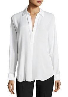 Vince Shirred Split-Neck Silk Blouse