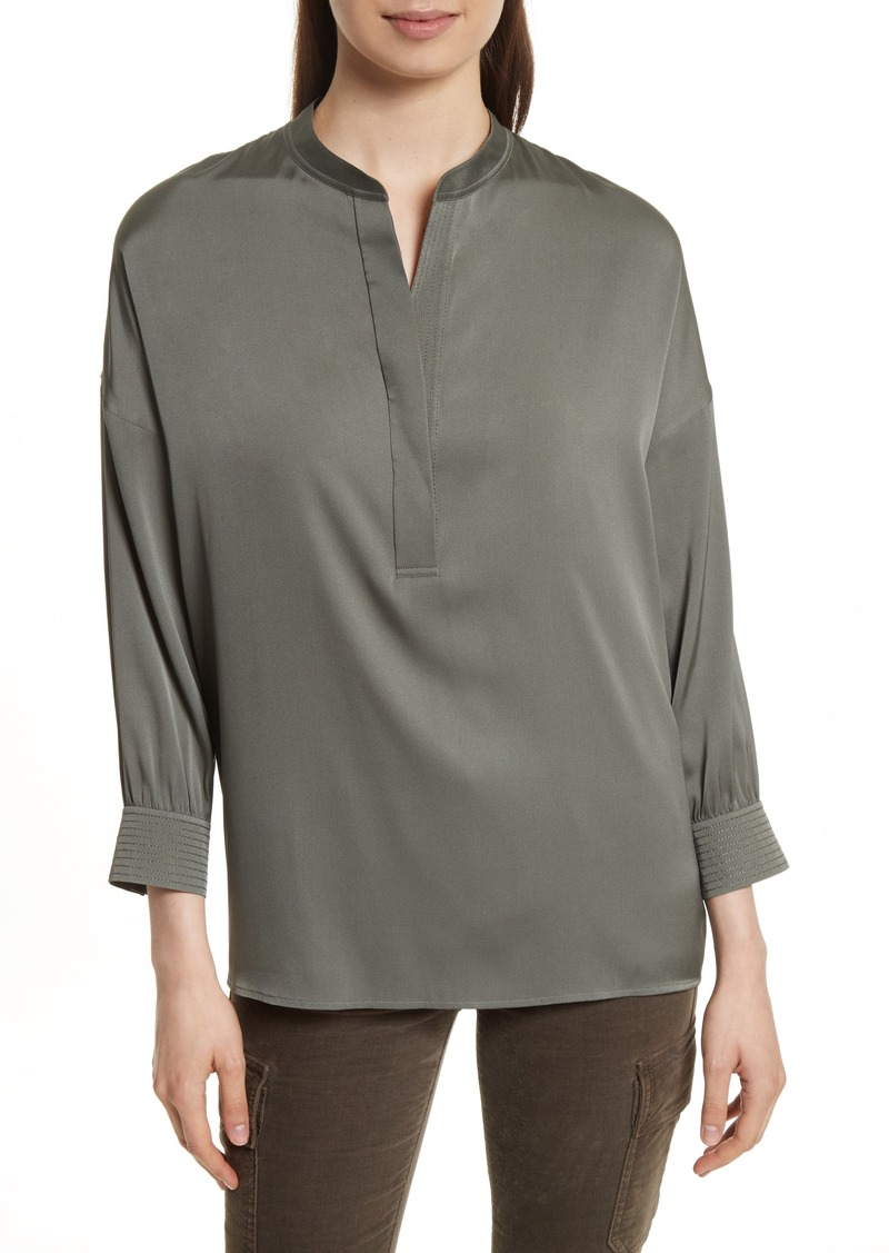 Vince Shirred Stretch Silk Blouse