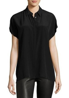 Vince Short-Sleeve Collared Silk Shirt