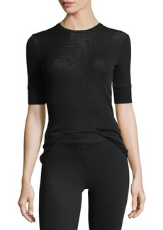 Vince Short-Sleeve Crewneck Fitted Wool Top