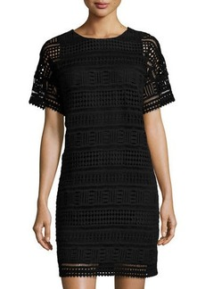 Vince Short-Sleeve Lace Shift Dress