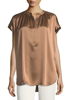 Vince Short-Sleeve Shirred Satin Blouse