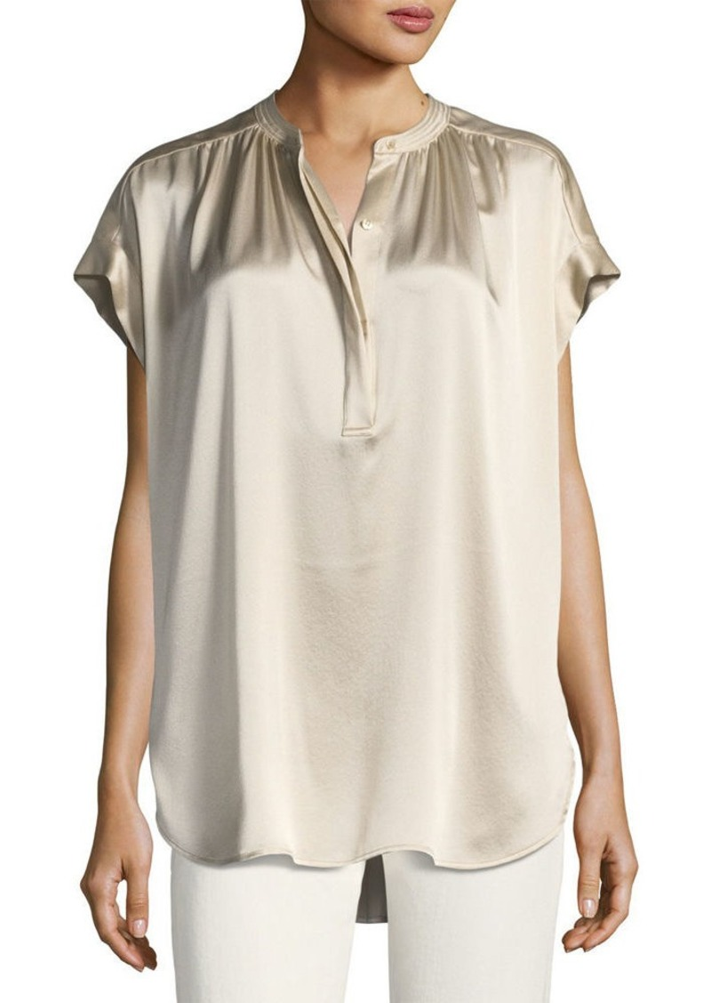 9349453f9a010e Vince Vince Short-Sleeve Shirred Satin Blouse