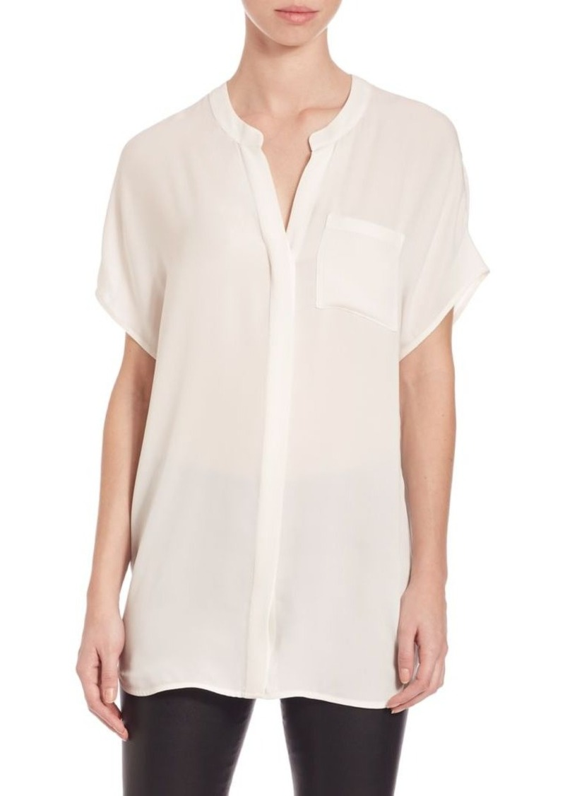 aa323f708de24f Vince Vince Short Sleeve Silk Tunic