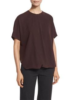 Vince Short-Sleeve Wrap-Front Silk Top