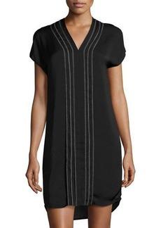 Vince Short-Sleeves Embroidered V-Neck Dress