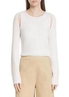 Vince Shoulder Slit Cashmere Crewneck Sweater