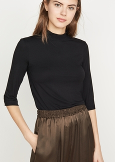 Vince Shrunken Mock Neck Elbow Sleeve Tee