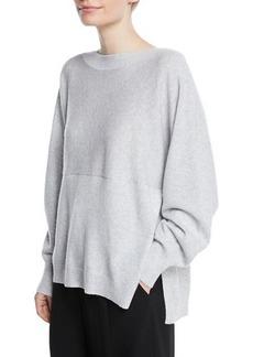 Vince Side-Slit Boat-Neck Wool/Cashmere Sweater