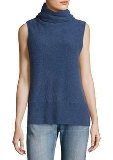 Vince Side-Slit Sleeveless Cashmere Turtleneck Sweater