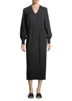Vince Side-Slit V-Neck Wool-Cashmere Long Dress
