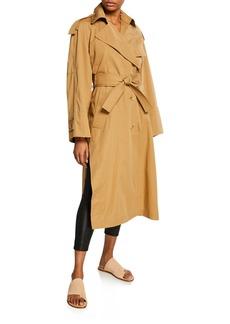 Vince Side-Split Long Cotton Trench Coat