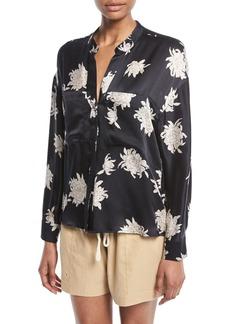 Vince Silk Chrysanthemum Floral Long-Sleeve Pocket Blouse