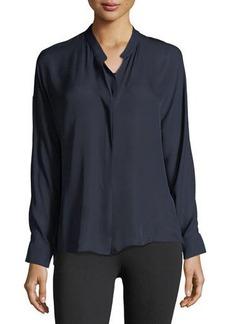 Vince Silk Georgette Band-Collar Shirt