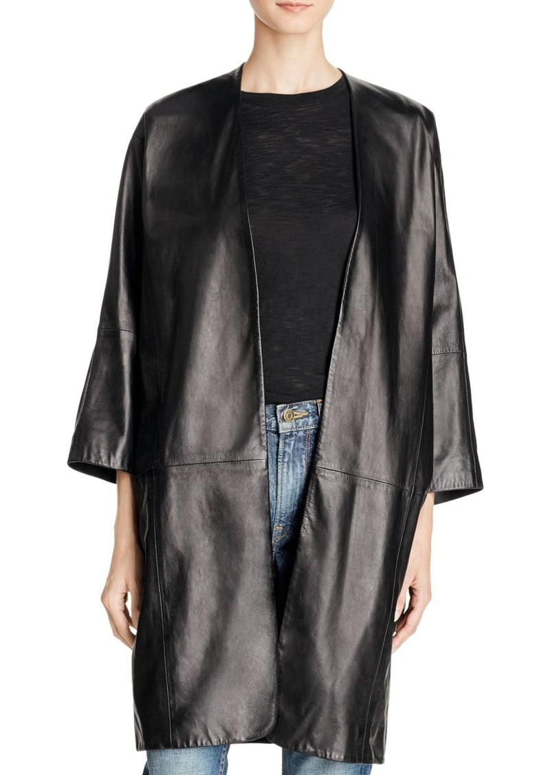 Vince Silk-Lined Leather Coat