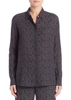 Vince Silk Printed Button-Front Blouse