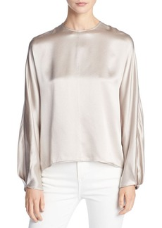 Vince Silk Satin Slit-Back Blouse