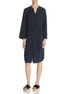 Vince Silk Shirred Shirt Dress