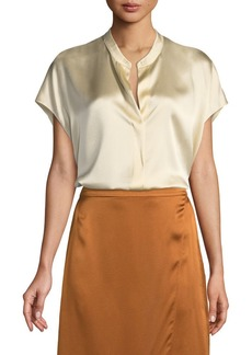 Vince Silk Split-Back Short-Sleeve Popover Top