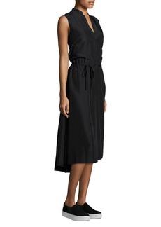 Vince Silk Tie-Front Midi Dress