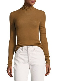 Vince Skinny Rib-Knit Cashmere Turtleneck Sweater