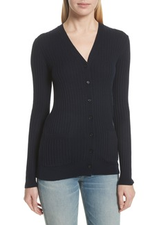 Vince Skinny Ribbed Cashmere Cardigan