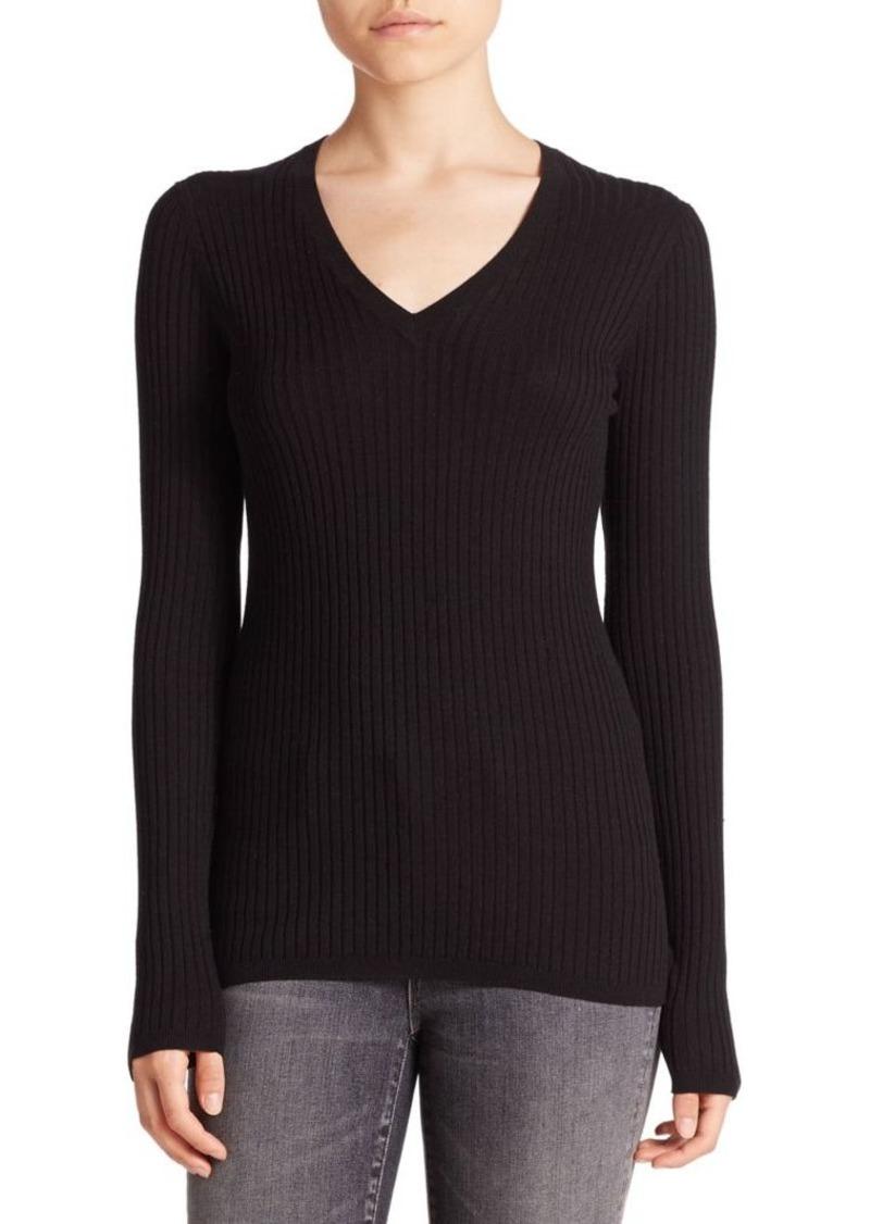 Vince Skinny Rib-Knit V-Neck Sweater