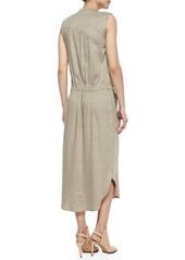 Vince Sleeveless Drawstring-Waist Cargo Dress