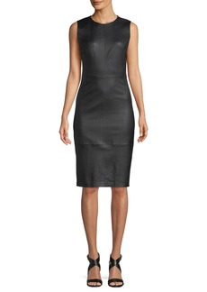 Vince Sleeveless Leather Knee-Length Dress