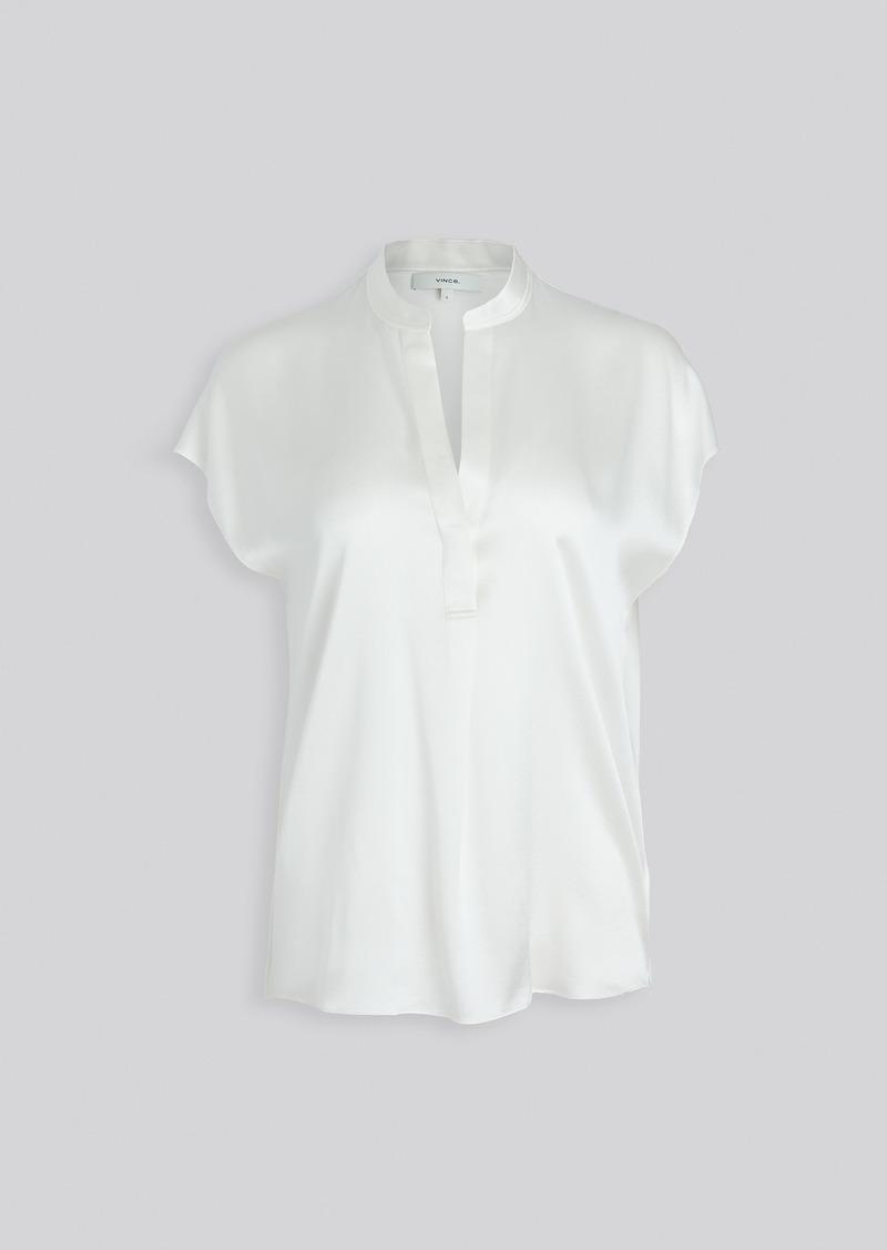 Vince Sleeveless Shirred Back Silk Blouse