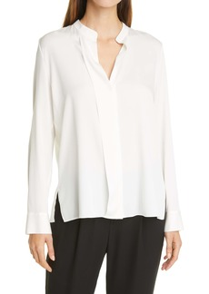 Vince Slim Fit Band Collar Stretch Silk Blouse