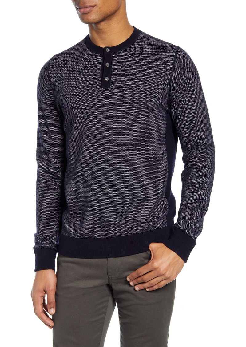 Vince Slim Fit Bird's Eye Henley Wool & Cashmere Sweater
