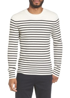 Vince Slim Fit Breton Stripe Cashmere Crewneck Sweater