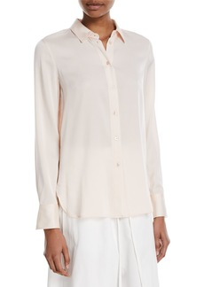 Vince Slim-Fit Button-Front Silk Blouse