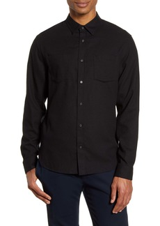 Vince Slim Fit Cotton & Wool Brushed Twill Button-Up Shirt