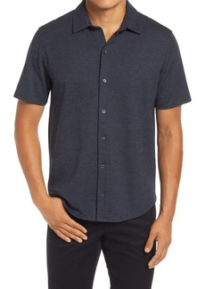 Vince Slim Fit Dot Print Short Sleeve Button-Up Shirt