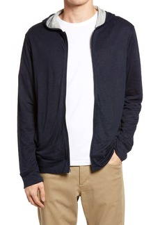 Vince Slim Fit Double Layer Zip-Up Hoodie