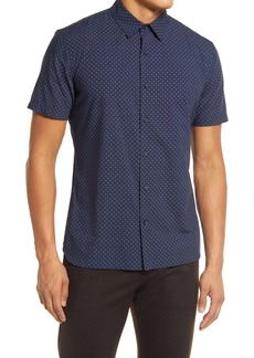 Vince Slim Fit Micro Print Short Sleeve Button-Up Shirt