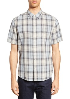 Vince Slim Fit Plaid Short Sleeve Linen & Cotton Shirt