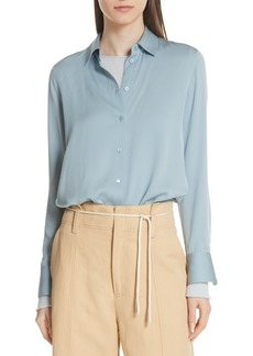 Vince Slim Fit Stretch Silk Blouse