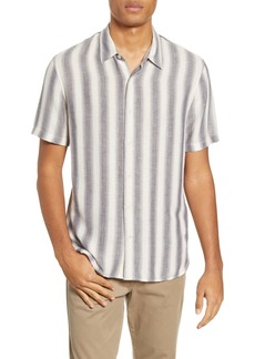 Vince Slim Fit Stripe Short Sleeve Button-Up Shirt