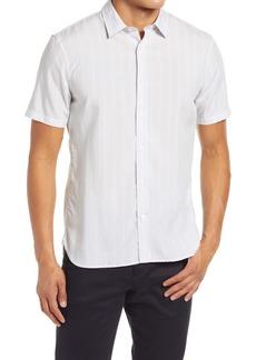 Vince Slim Fit Variegated Stripe Short Sleeve Button-Up Shirt