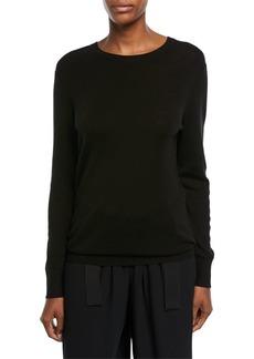 Vince Slit-Back Long-Sleeve Merino Wool Sweater