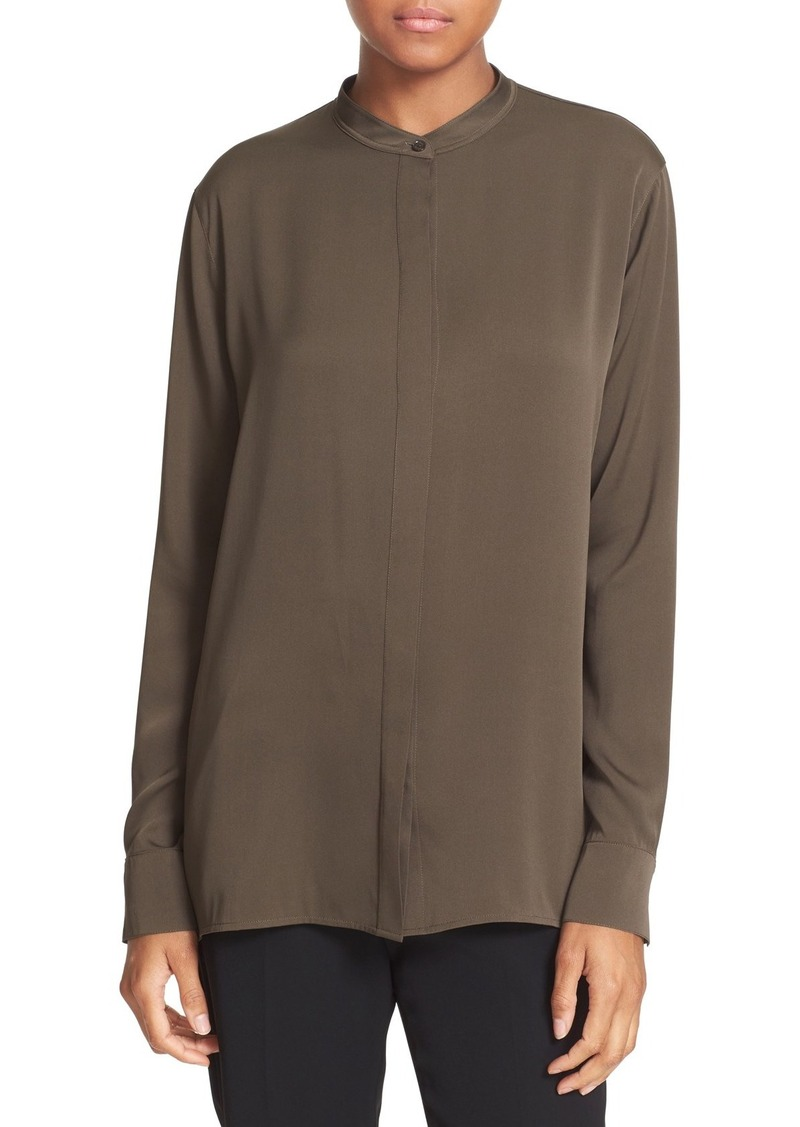 Vince Slit Back Stretch Silk Blouse