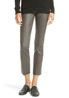 Vince Slit Hem Crop Leather Pants