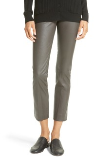 Vince Slit Hem Crop Leather Pants