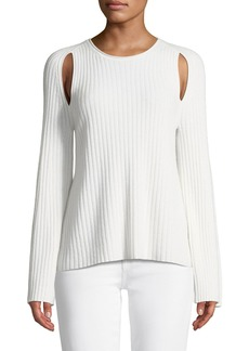 Vince Slit-Shoulder Ribbed Cashmere Sweater